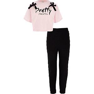 Ensemble avec t-shirt rose orné de perles pour fille