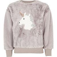 Girls grey faux fur unicorn sweatshirt