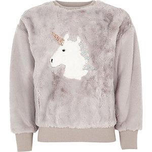 Sweat motif licorne en fausse fourrure gris