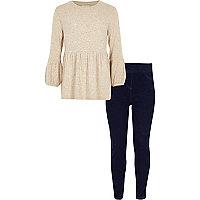 Girls beige peplum knit top outfit