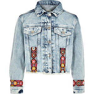 Girls blue embroidered trim denim jacket