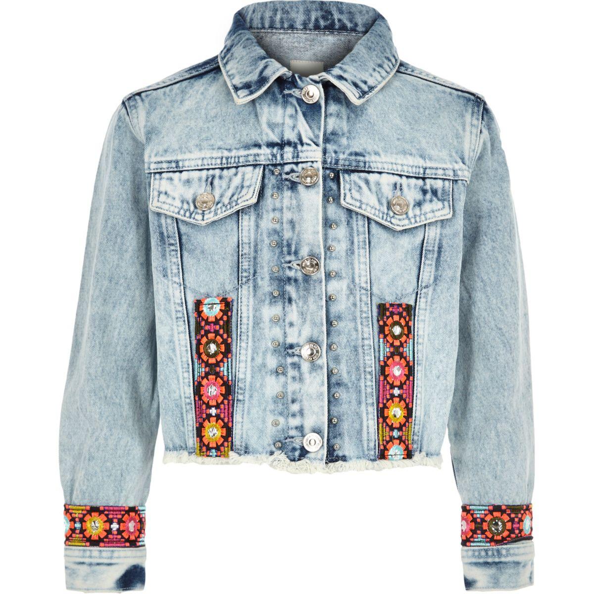 Girls blue embroidered trim denim jacket