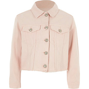 Girls light pink frayed hem denim jacket