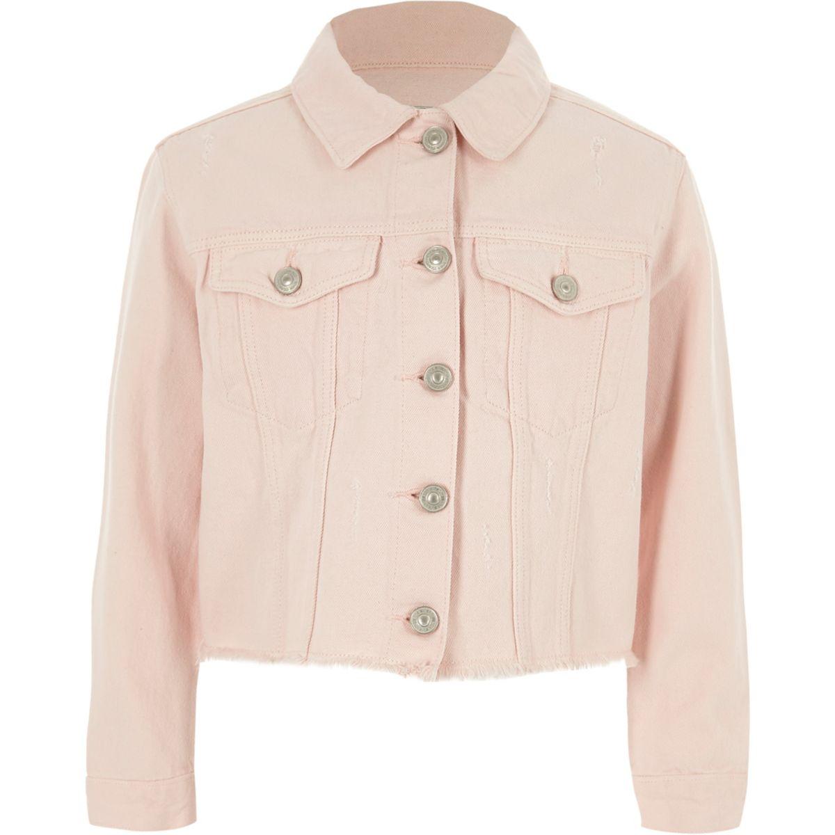 Girls light pink frayed hem denim jacket