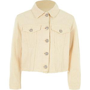 Girls light yellow frayed hem denim jacket