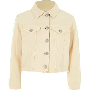 Girls light yellow frayed hem denim jacket