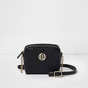 Girls black RI monogram cross body chain bag