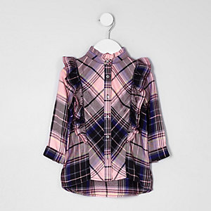 Mini girls pink check frill front shirt