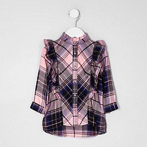 Mini girls pink check frill front shirt