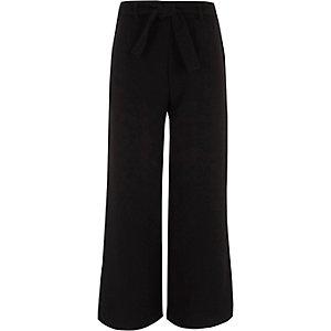 Pantalon palazzo large noir à fentes pour fille
