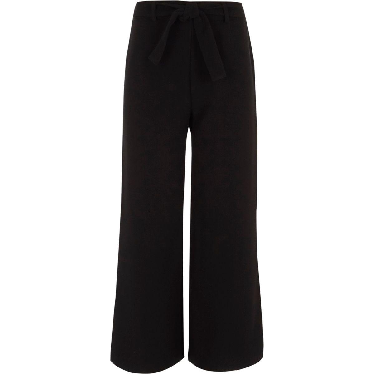 Girls black wide leg split palazzo trousers