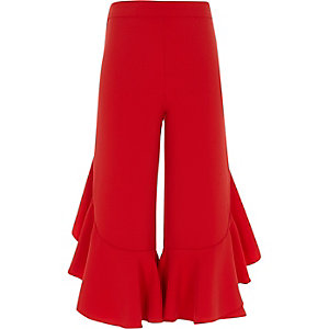 Girls red frill wide leg trousers