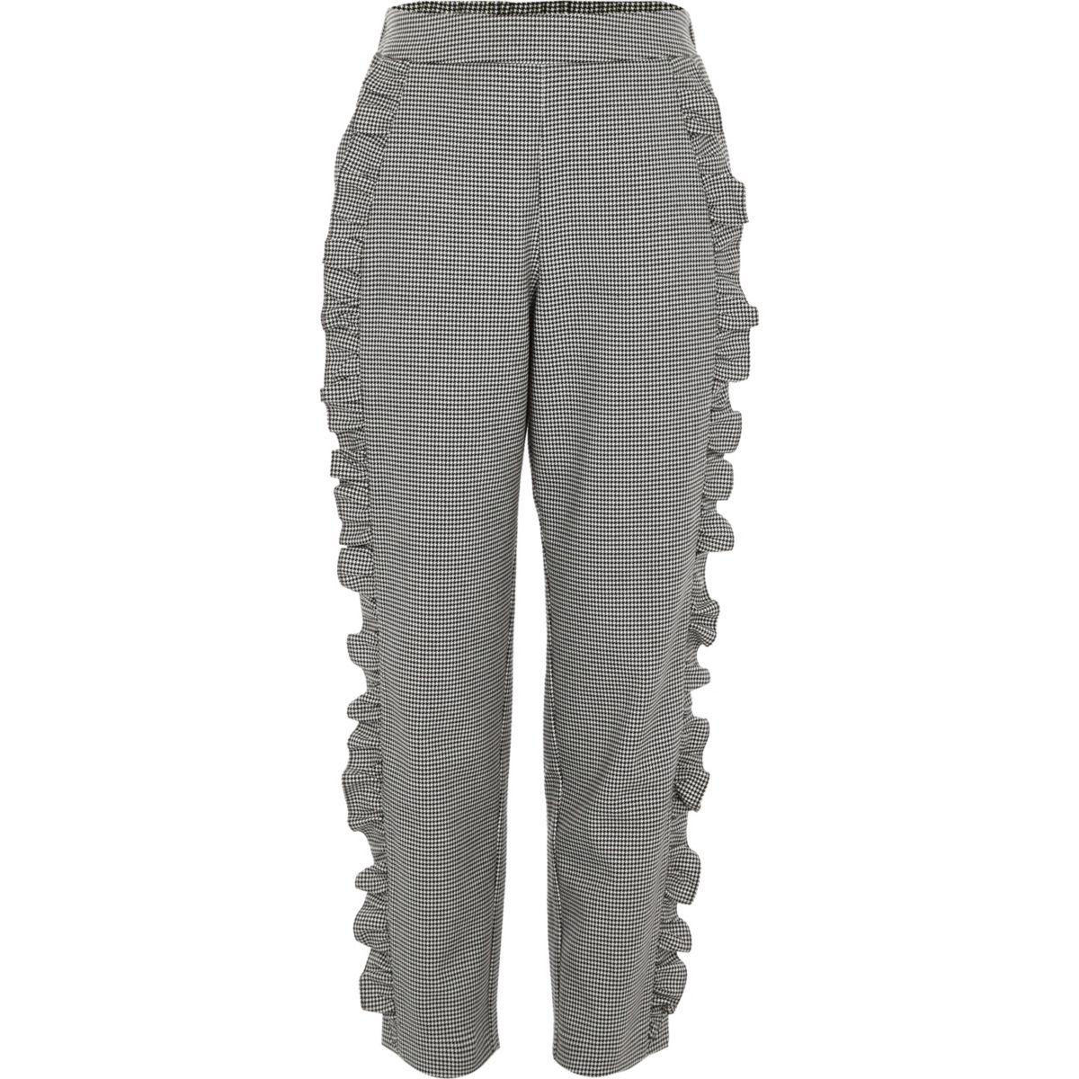Pantalon à carreaux motif pied-de-poule gris pour fille