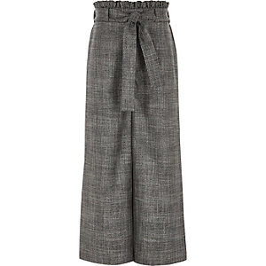 Girls grey check tie waist palazzo trousers