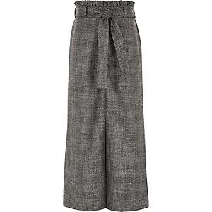 Pantalon palazzo à carreaux gris noué à la taille fille