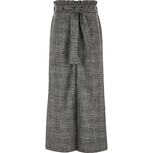 Girls grey check tie waist palazzo trousers