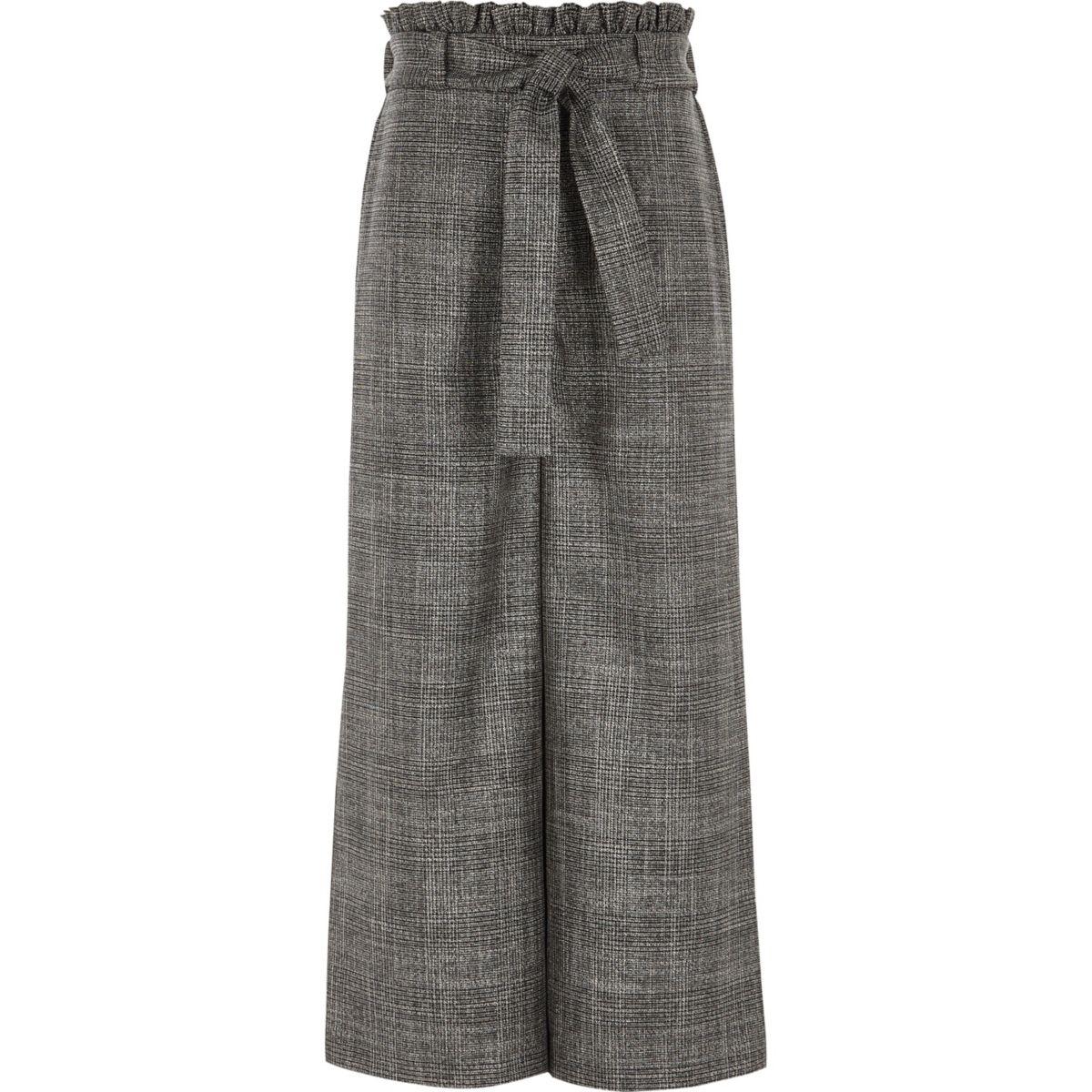 Girls grey check tie waist palazzo pants