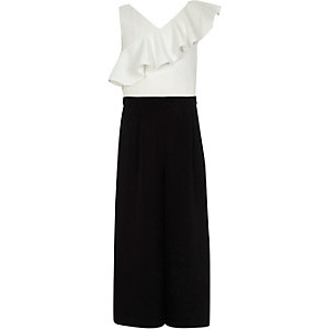 Girls black and white block frill jumpsuit