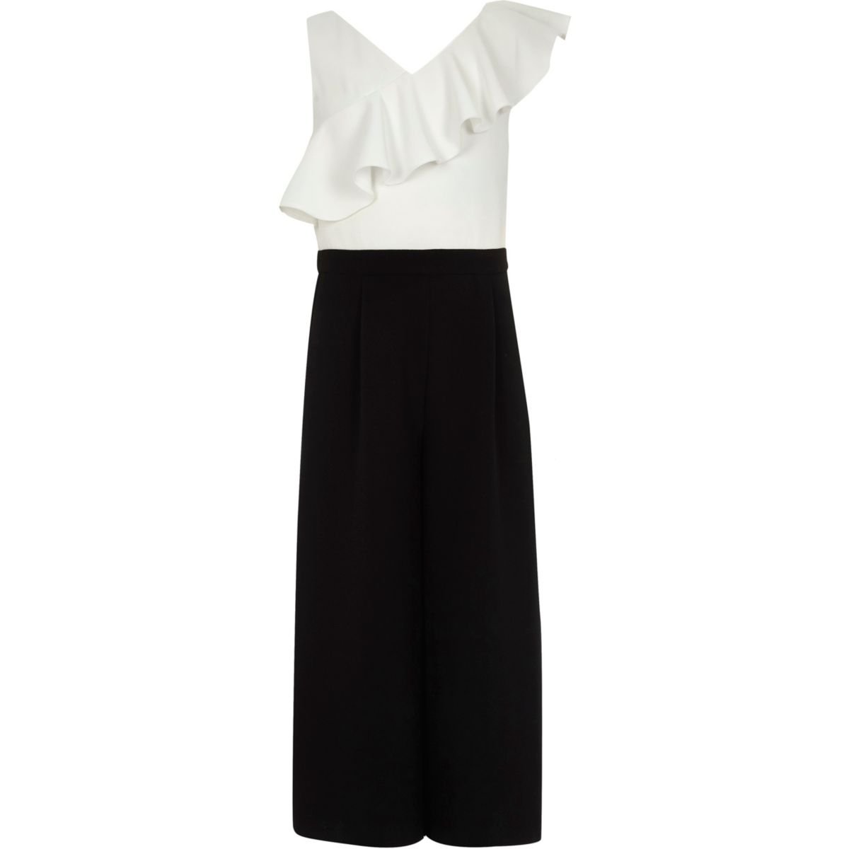 Girls black and white frill culotte jumpsuit