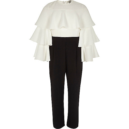 Girls white and black frill tiered jumpsuit