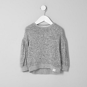 Mini girls grey balloon sleeve sweatshirt