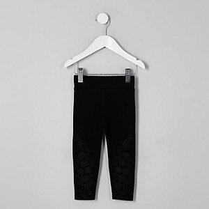 Mini - Zwarte kanten legging met appliqué voor meisjes