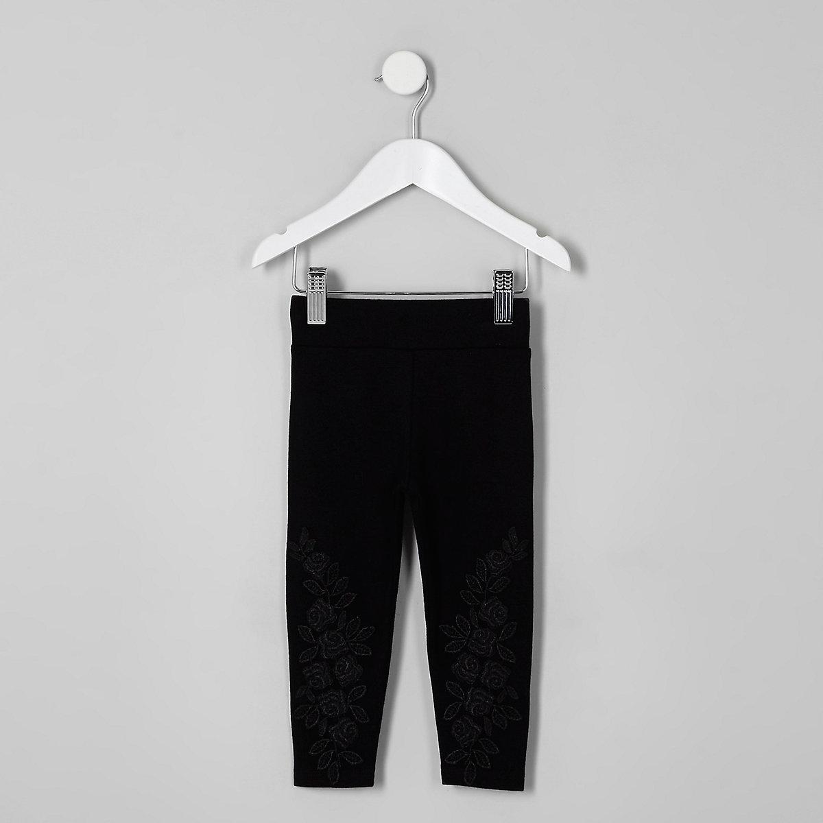 Mini girls black lace applique leggings