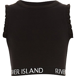 Girls black RI branded ruffle crop top