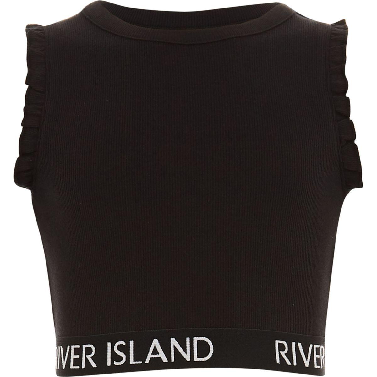Girls black RI branded ruffle crop top