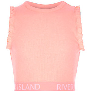 Girls pink RI branded ruffle crop top