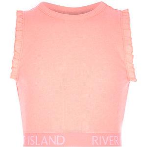 Girls RI active pink ruffle crop top