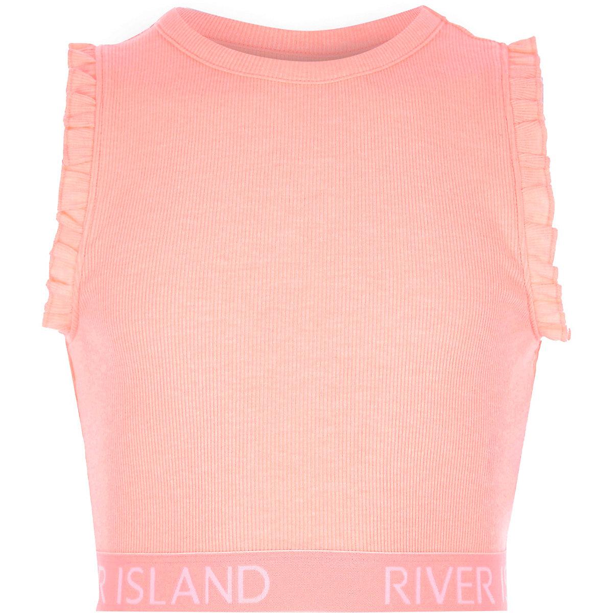 Girls pink RI branded ruffle crop top