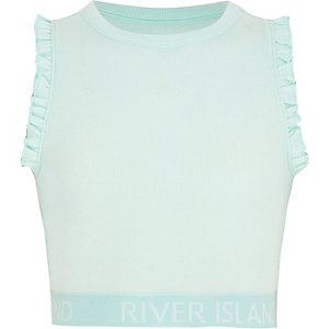 Girls pale blue frill crop top