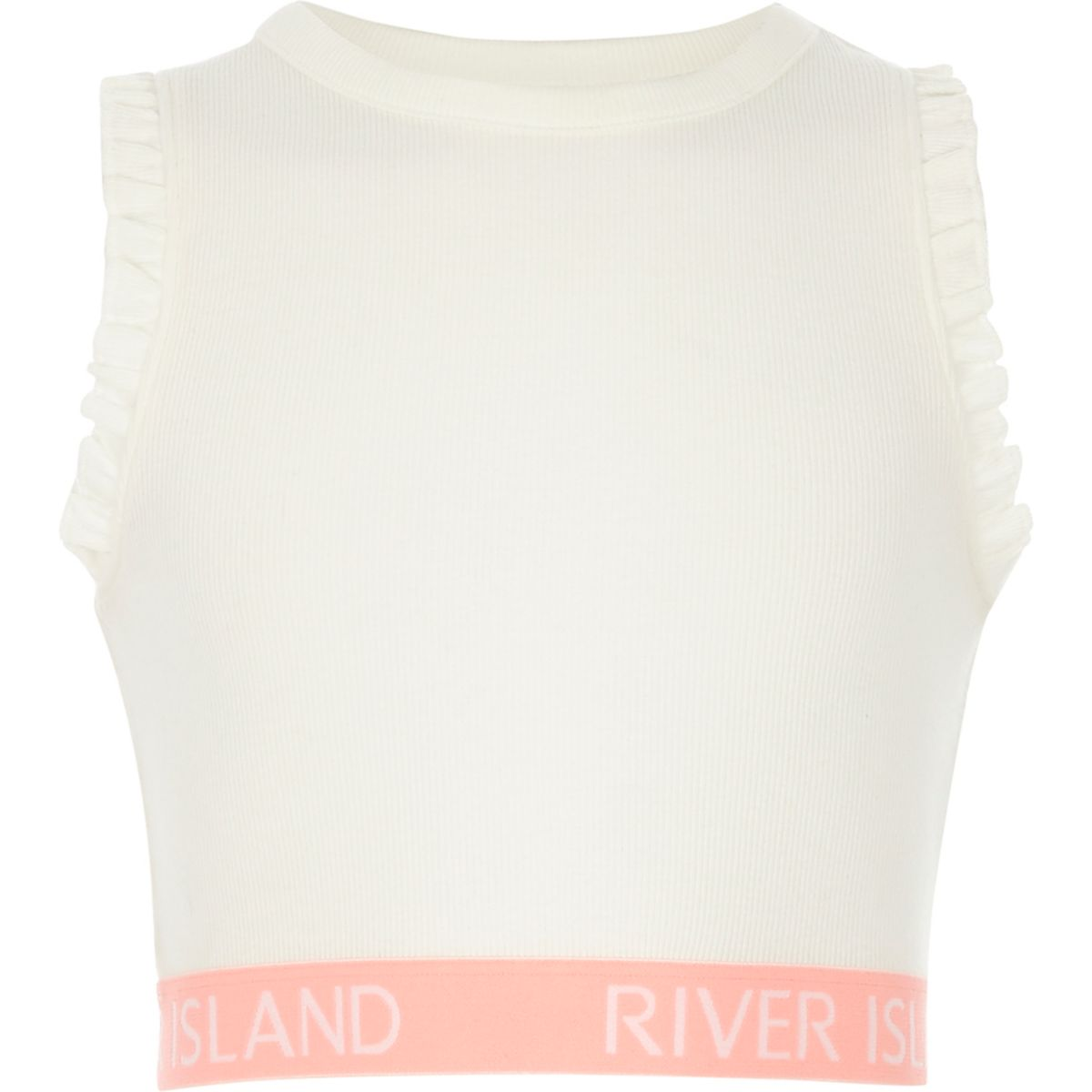 Girls white frill RI hem crop top