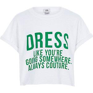 T-shirt court « Dress like » blanc pour fille