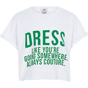 Wit cropped T-shirt met 'dress like'-print voor meisjes