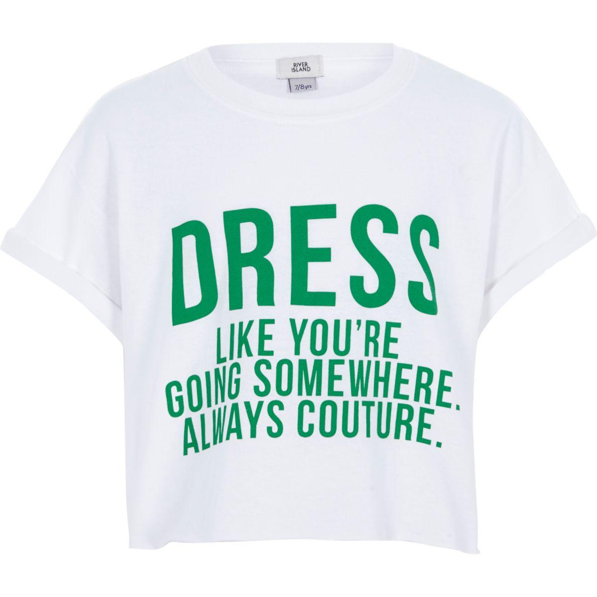 Girls white 'dress like' cropped T-shirt