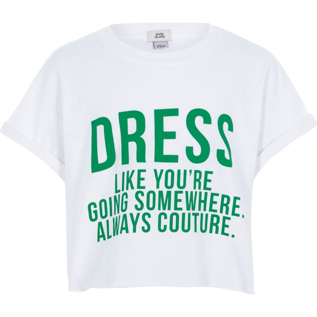 Girls white 'dress like' cropped T-shirt