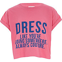 Girls pink 'dress like' cropped T-shirt