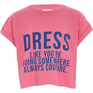 Girls pink 'dress like' cropped T-shirt