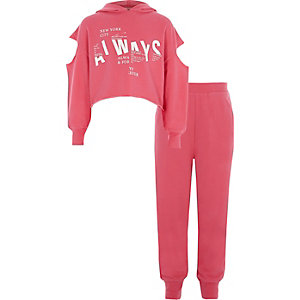 Girls pink cold shoulder sweatshirt outfit