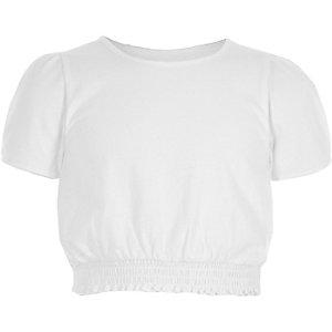 Girls white shirred hem puff sleeve top