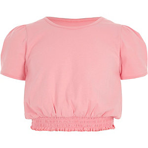Girls light pink shirred hem puff sleeve top