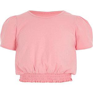 Girls light pink shirred hem puff sleeve top