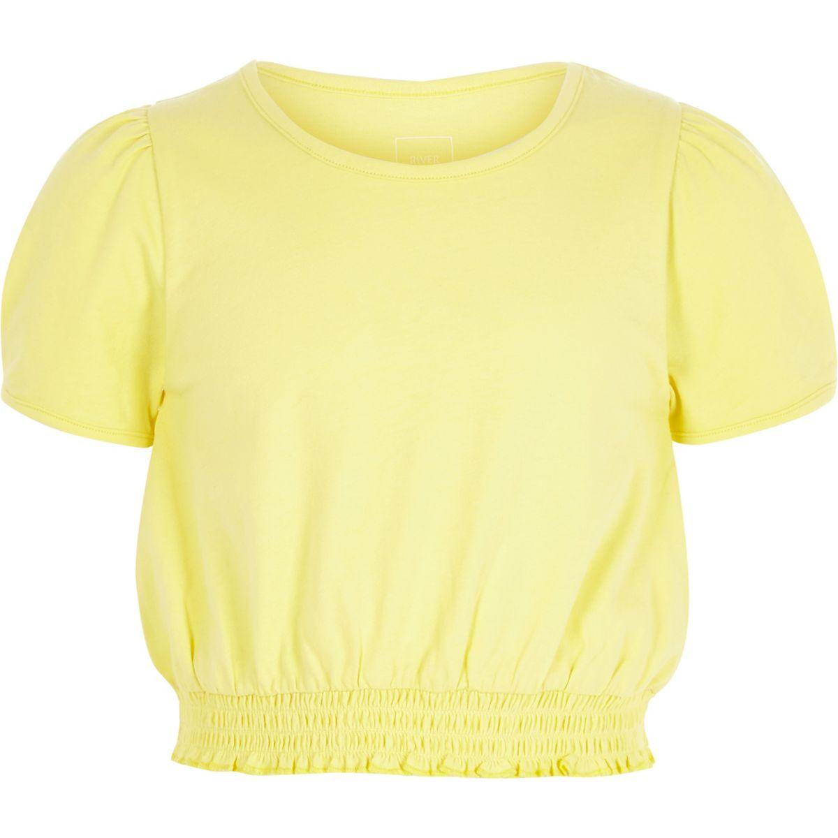 Girls yellow puff sleeve T-shirt