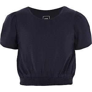 Marineblauw gesmokt T-shirt met korte pofmouwen voor meisjes