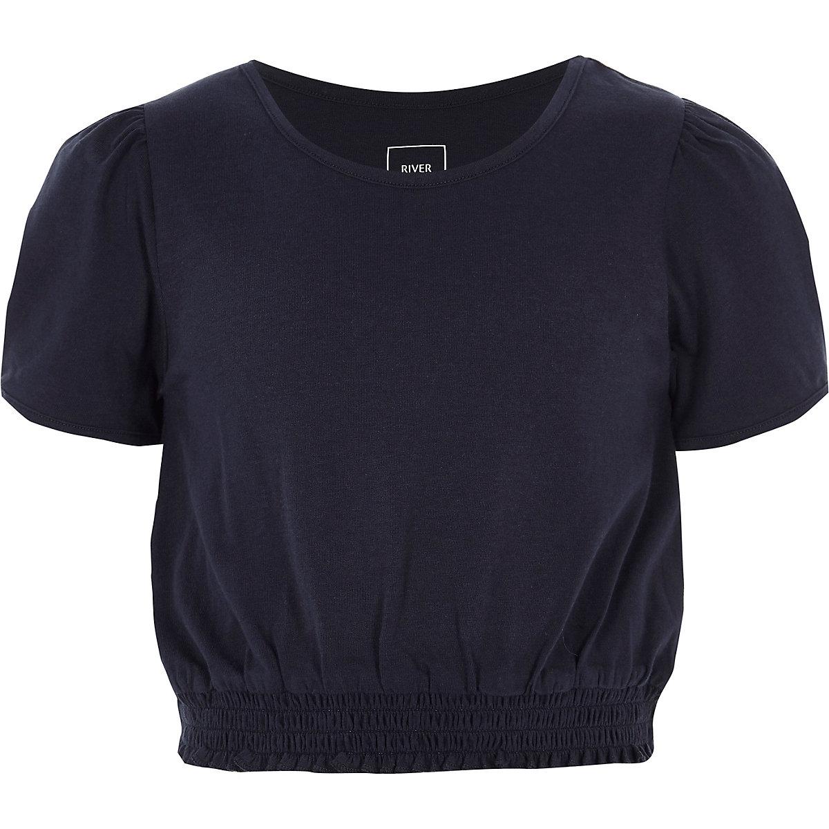 Girls navy short puff sleeve shirred T-shirt