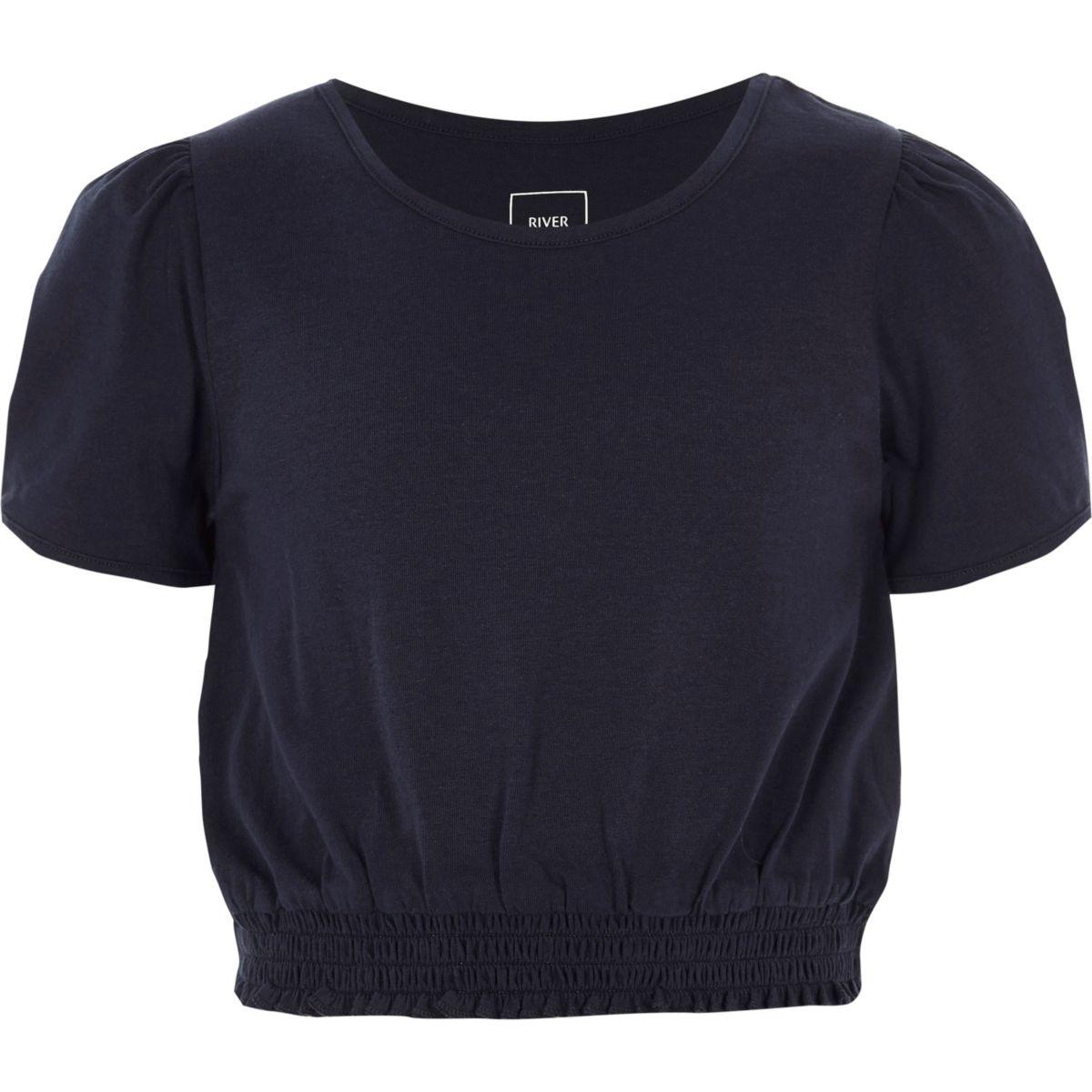 T-shirt bleu marine froncé à manches courtes bouffantes pour fille