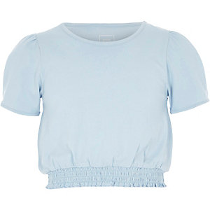 Girls blue short puff sleeve shirred T-shirt