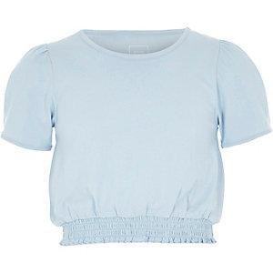 Girls blue short puff sleeve shirred T-shirt